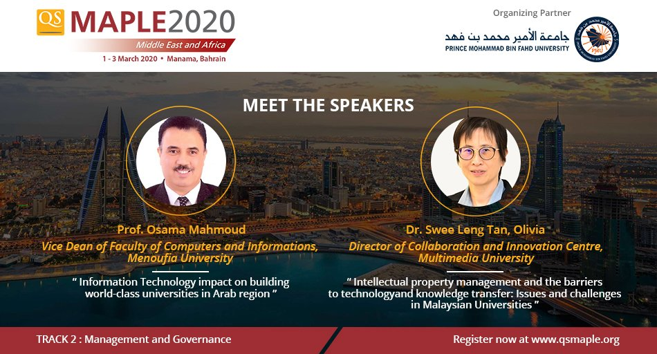 At #qsmaple2020 Dr. Osama Mahmoud will elucidate on impact of #InformationTechnology on building #worldclass #universities in Arab region while Dr. Olivia Tan will share on the barriers to #Intellectualproperty management, technology & knowledge transfer. http://bit.ly/qsmaple2020pic.twitter.com/MutlBSkUWl