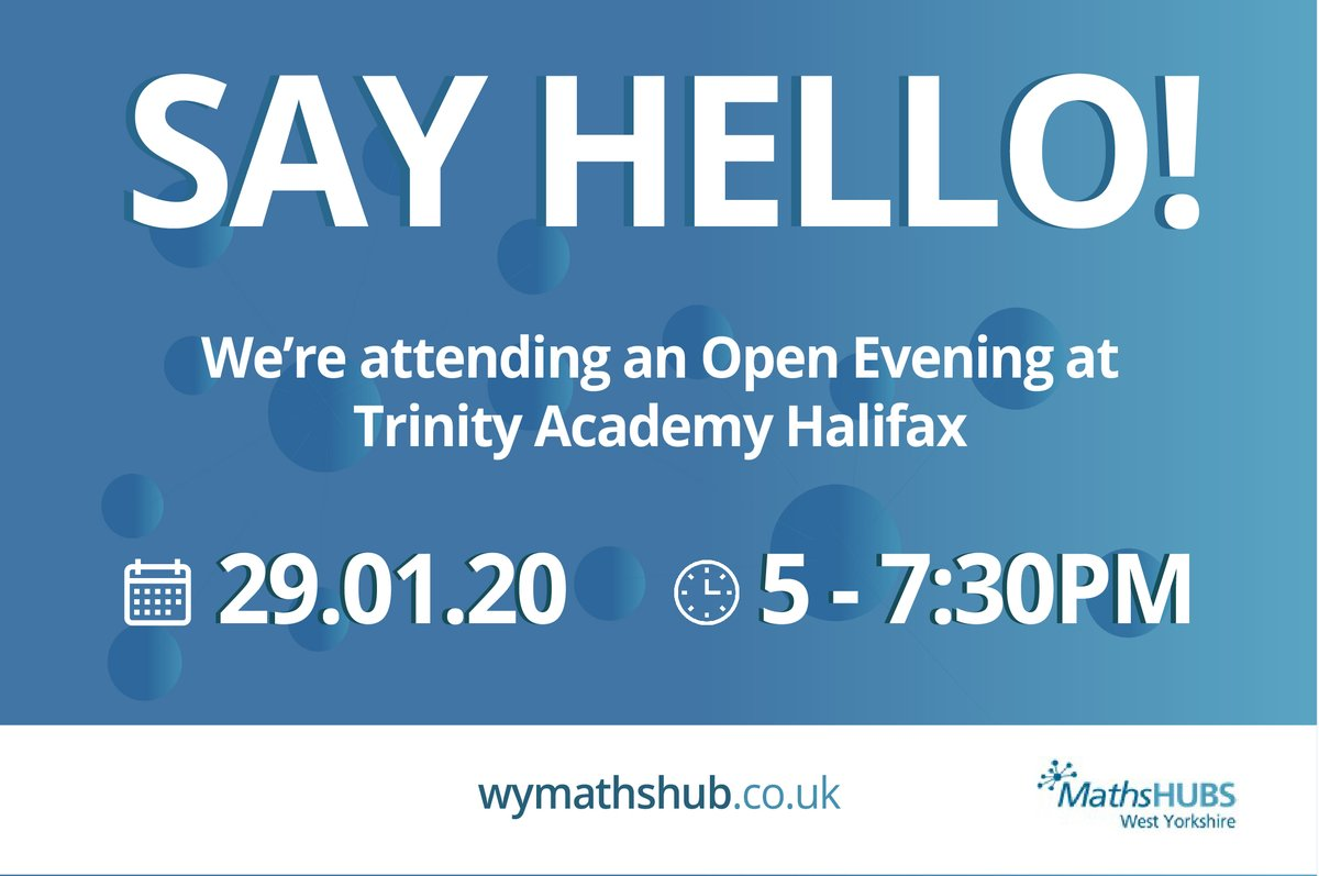 RT @WYorksMathsHub 🔹Want to get involved?🔹  Come and visit our stand at Trinity MAT's opening evening! Our leads @Henshie1 & Steph will be on hand showcasing all things Maths Hub and answering any questions you may have!   We can't wait to see you there!   #WestYorkshire #MathsHub #OpenEvening