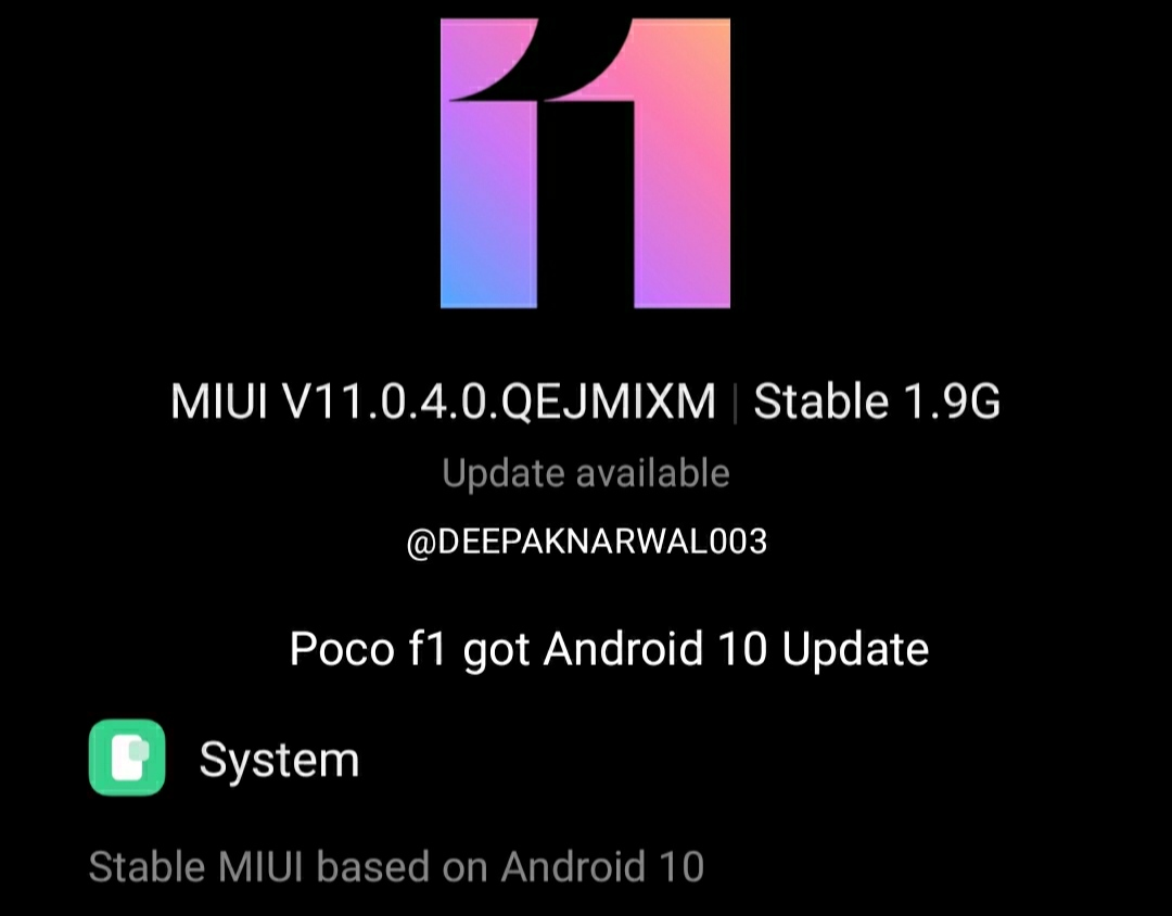 #Android10 official #miui update rollout started for #Pocof1 #miui11 #teampoco #Xiaomi #deepaknarwal