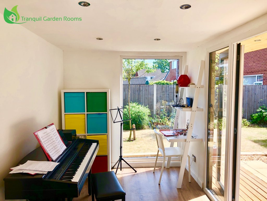 MUSIC ROOM 🎼🎸🎹 • NOTE: 10% off if you book within January.  • #GardenRoom #CheckUsOut #TranquilGardenRooms 🏡 • #garden #musicroom #party #gardenoffice #summer #winter #UK #Sun #mancave #office #outdooroffice #life #beautiful #gym #homegym #yoga #beauty #hairsalon #love