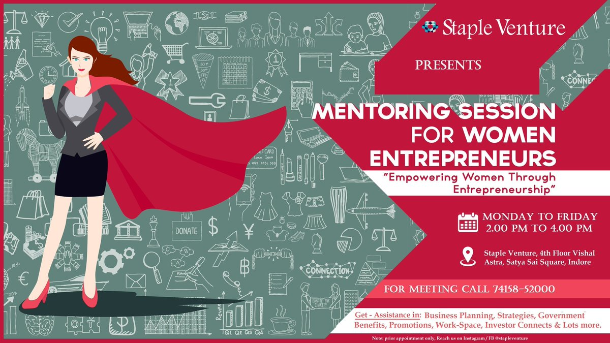Because Women entrepreneurs are making that change in the economy & We believe, women can grab better!  We creating a business ecosystem & 1 to 1 mentoring cum problem solving session in multiple topics of business.  #WomenEntrepreneurs #BusinessGrowth #startup #mentorship pic.twitter.com/PmvbbrK9dL