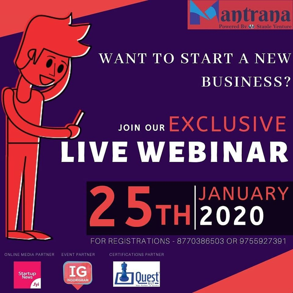 """Mantrana'20 is now available on online """"Live webinar Exclusive program"""" With 20+ speakers from Pan India we are now providing our complete Module through Webinar.  #indore #indorecity #businessowner #entrepreneurs #startupbusiness #startupindia #womenentrepreneur #mentorship pic.twitter.com/iMyubN8C0k"""