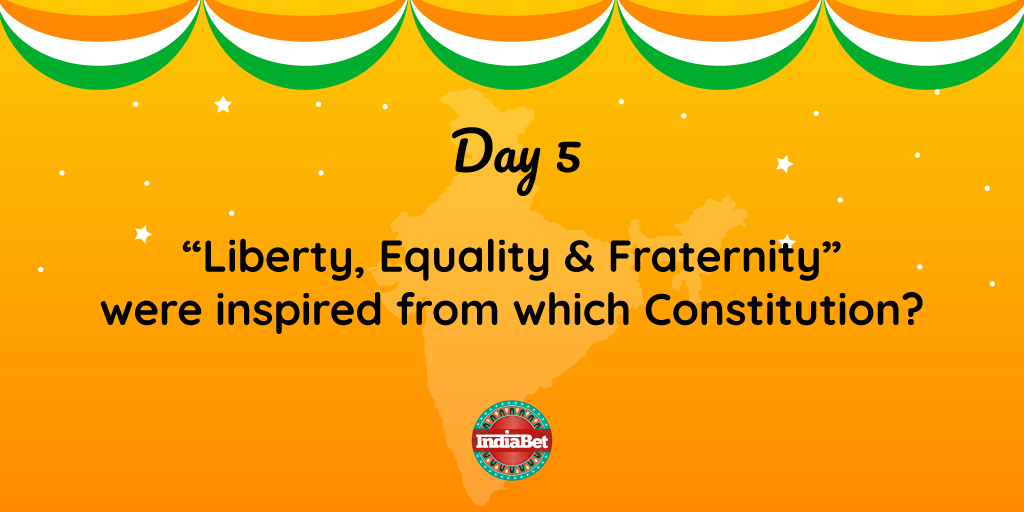 Day 5 #RepublicWeek  #Liberty #Equality & #Fraternity were inspired from a constitution of another country. Which country was that?   Everyday 3 winners will receive Indiabet Merchandise. . . #RepublicDay2020 #Indiabet #Constitution #Inspiration