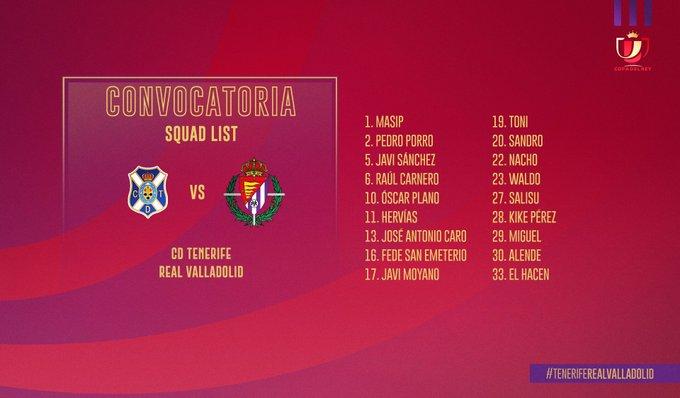 EOziA5zX4AAiUX3?format=jpg&name=small Sergio deja fuera de la convocatora a varios titulares para jugar en Tenerife - Comunio-Biwenger