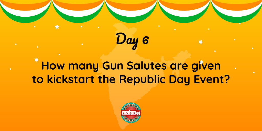 Day 6 #RepublicWeek   Every Year we start the parade with unfurling the flag and a very specific number of Gun Salutes.   Do you know what is that number?   Everyday 3 winners will receive Indiabet Merchandise . . #Indiabet #RepublicDay2020 #GunSalutes #India #Event #Flag #Unfurl