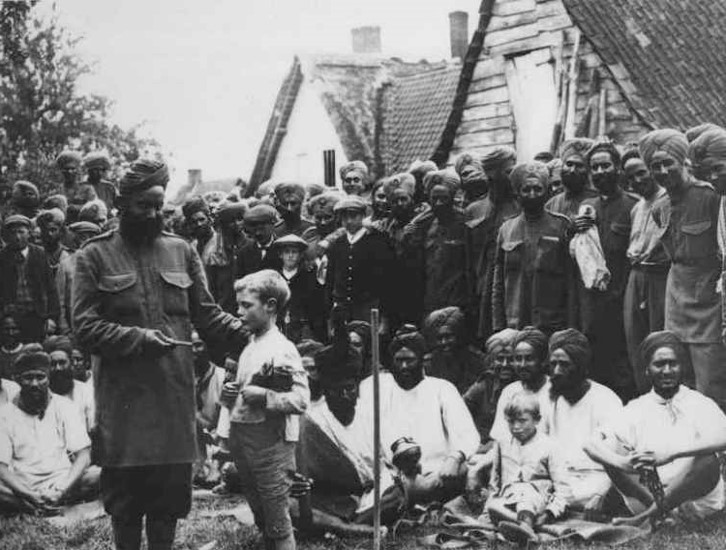 Friendships made, Sikhs billeted in a village in Flanders 1914.
