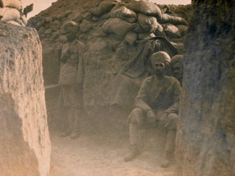Gallipoli trenches. Sikhs and Gurkhas were present through much of the Gallipoli campaign.