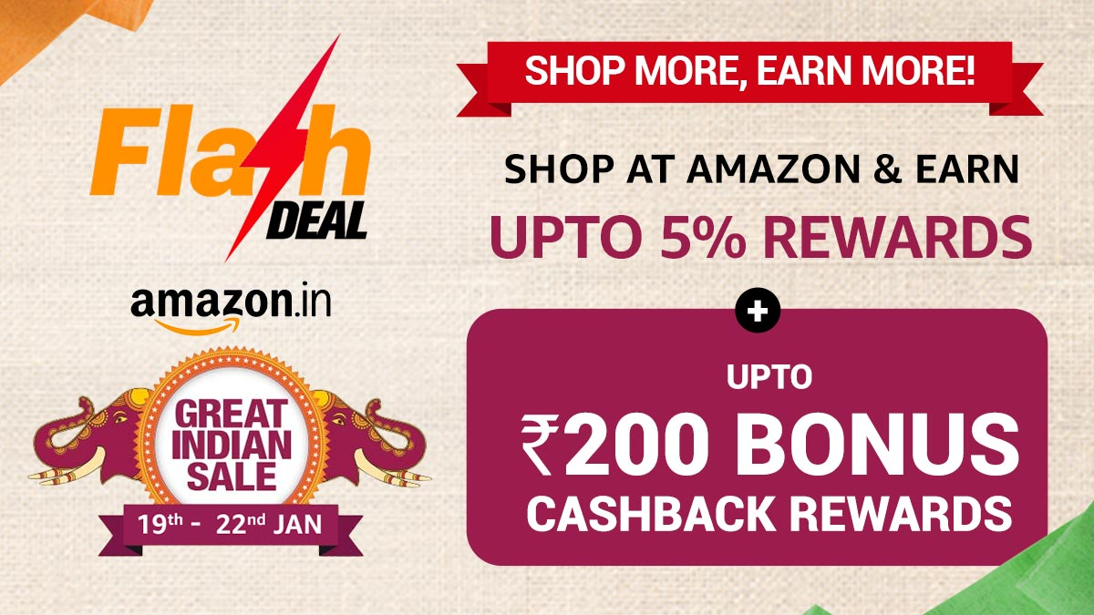 We're raising the bar with all our blockbuster offers. Here's another one - FLASH SALE on Amazon! So what are you waiting for? Shop on Amazon's Great Indian Sale via CashKaro & Save BIG:  . #FlashSale #CashKaro #YouGetMore #AmazonIndia #Cashback #Savings