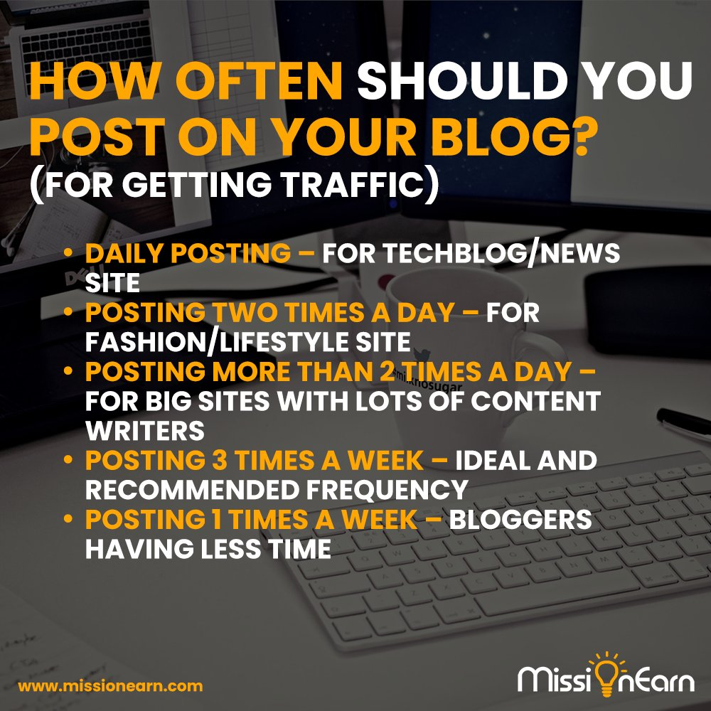 Do check out our full article: https://missionearn.com/how-often-should-you-post-on-your-blog/ …  #business #motivation #success #entrepreneurship #smallbusiness #entrepreneurlife #marketing #money #startup #inspiration #hustle #businessowner #goalspic.twitter.com/Mo0lGuKkJM