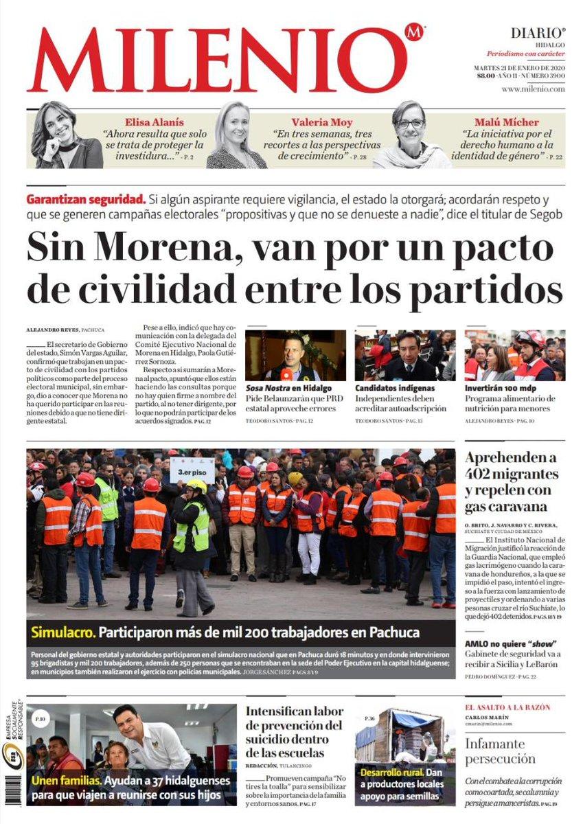 #FelizMartes 🗞 Comienza el día con la mejor información que #Milenio trae para ti en su edición del 21 de enero.