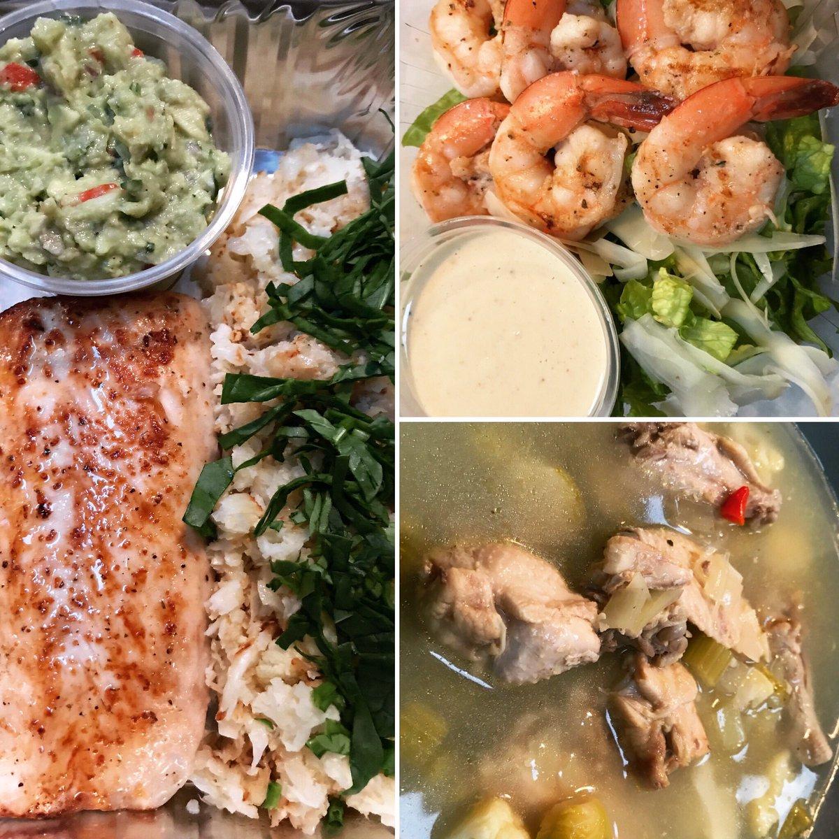Tuesday's Keto Meal Prep Keto Chicken Souse Grilled Shrimp Caesar Salad w/ House Made Caesar dressing  Pan Seared Mahi Mahi w/ Cauliflower Rice & Guacamole  #DunmoreDeliByChefNiki #Keto #WeDoKeto<br>http://pic.twitter.com/8dCyEWNjQ2