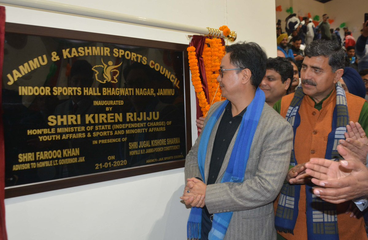 Union Min Rijiju inaugurates indoor multipurpose sports complex at Bhagwati Nagar & constructions of CFC building at Chakroi with estimated cost of Rs 50 lakhs and sub centre Chak Mullo with estimated cost Rs 15 lakhs at RS Pura, Jammu.
