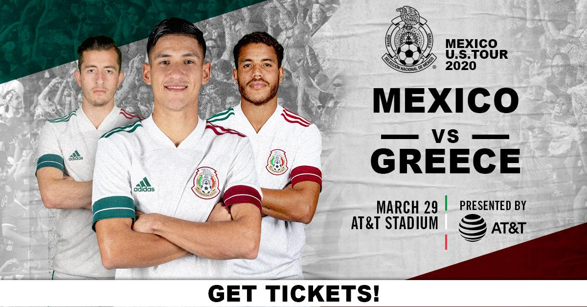 Mexico's soccer 🌟s return to #ATTStadium for the 3d year in a row as part of their @miseleccionmxENs U.S. Tour! Be there to catch all the action when the Mexican National Team takes on Greece. @agonasport ⚽ Tickets are on sale NOW ➡ bit.ly/2va7MRg