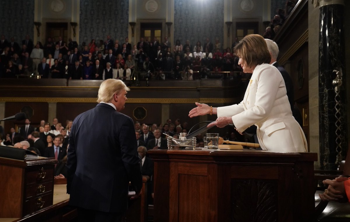 Trump appears to ignore Pelosi's handshake offer