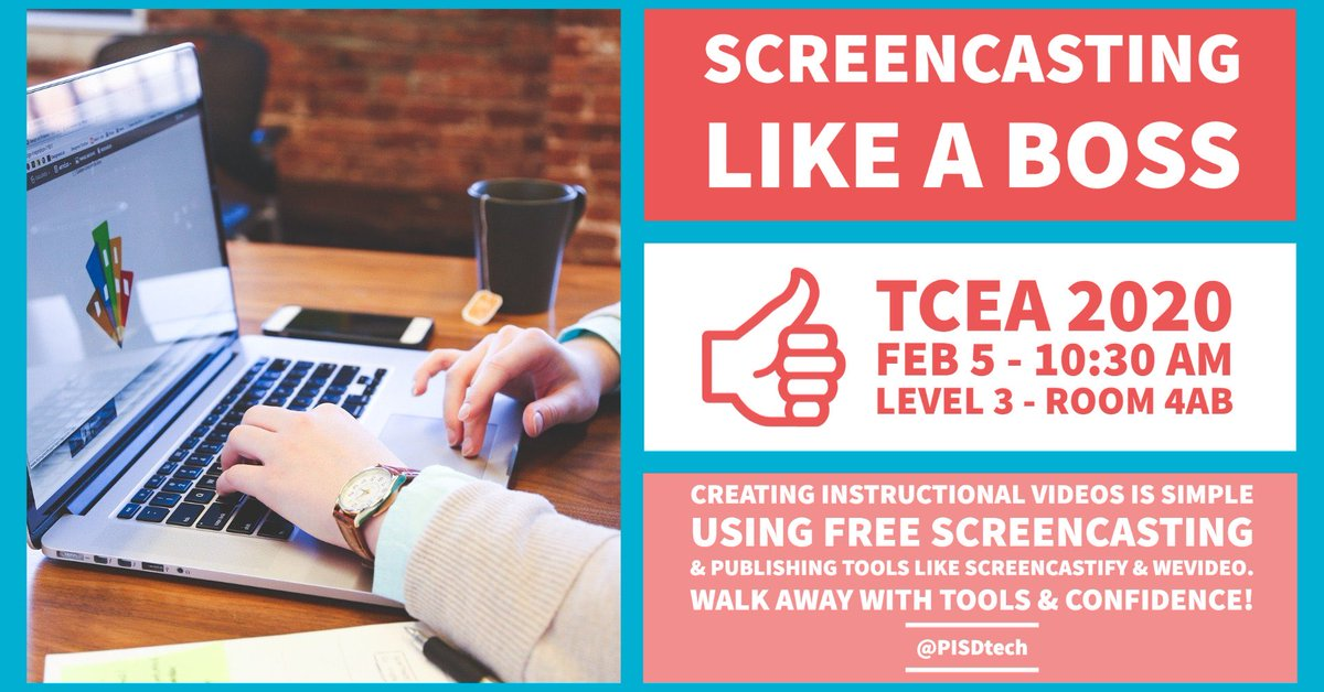 Hope to meet new friends in our session tomorrow! #screencasting #tcea #TCEA2020 @pisdtech @Screencastify @WeVideo