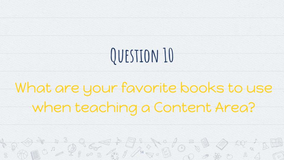 Question 10: What are your favorite books to use when teaching a Content Area? #3rdchat
