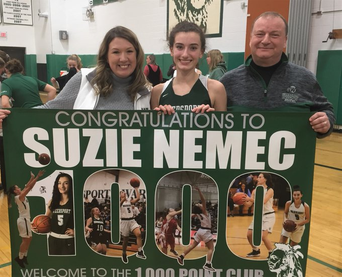 Weedsport's Suzie Nemec scores 1,000th point while honoring Gianna Bryant