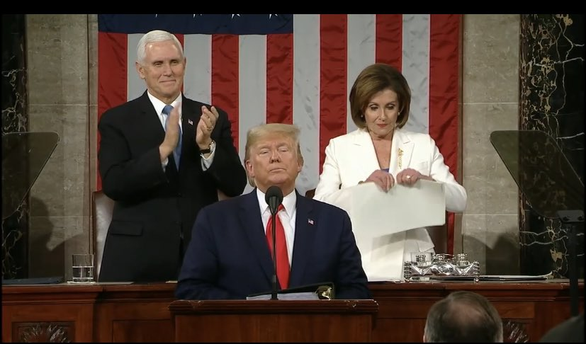 CLASSLESS NANCY PELOSI RIPS STATE OF THE UNION IN HALF