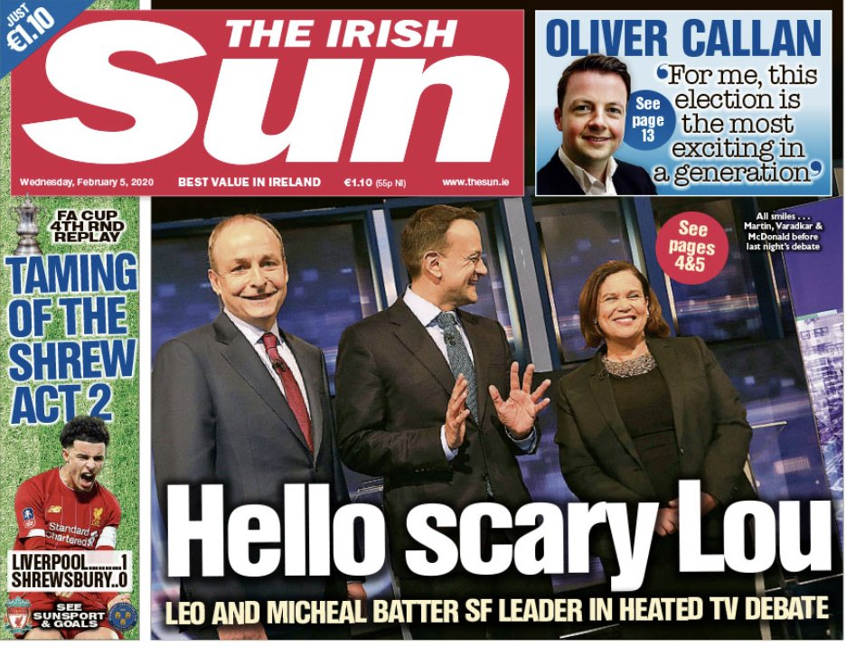 Check out my column in tomorrow's @IrishSunOnline on #GE2020  Firm but fair analysis. Also, the fun bit, the Taoiseach's Diary. But could it be Leo the Ledgebag's last? #rtept #LeadersDebate <br>http://pic.twitter.com/cpGX9Bm6Li