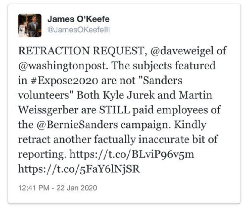 Twitter Suspends James O'Keefe of Project Veritas…
