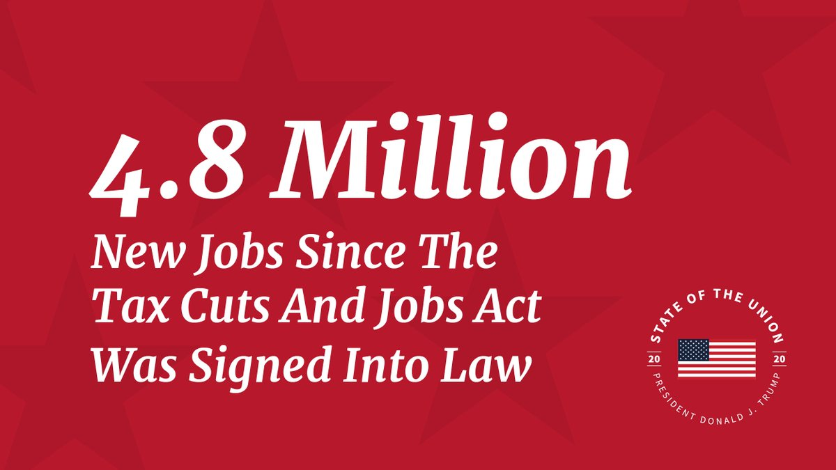 4.8 million new jobs have been created since the Tax Cuts and Jobs Act was signed into law. #SOTU