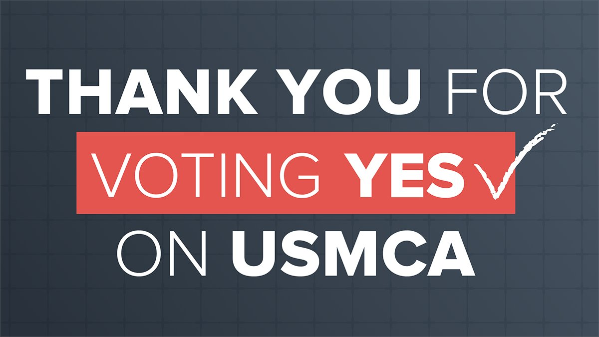 Thank you @POTUS and Congress for passing and signing USMCA, which will benefit millions of American workers, farmers, and businesses and signals that America remains open for business #USMCAnow #USMCAwin #SOTU https://www.uschamber.com/series/above-the-fold/quick-take-your-primer-the-us-mexico-canada-agreement-usmca…