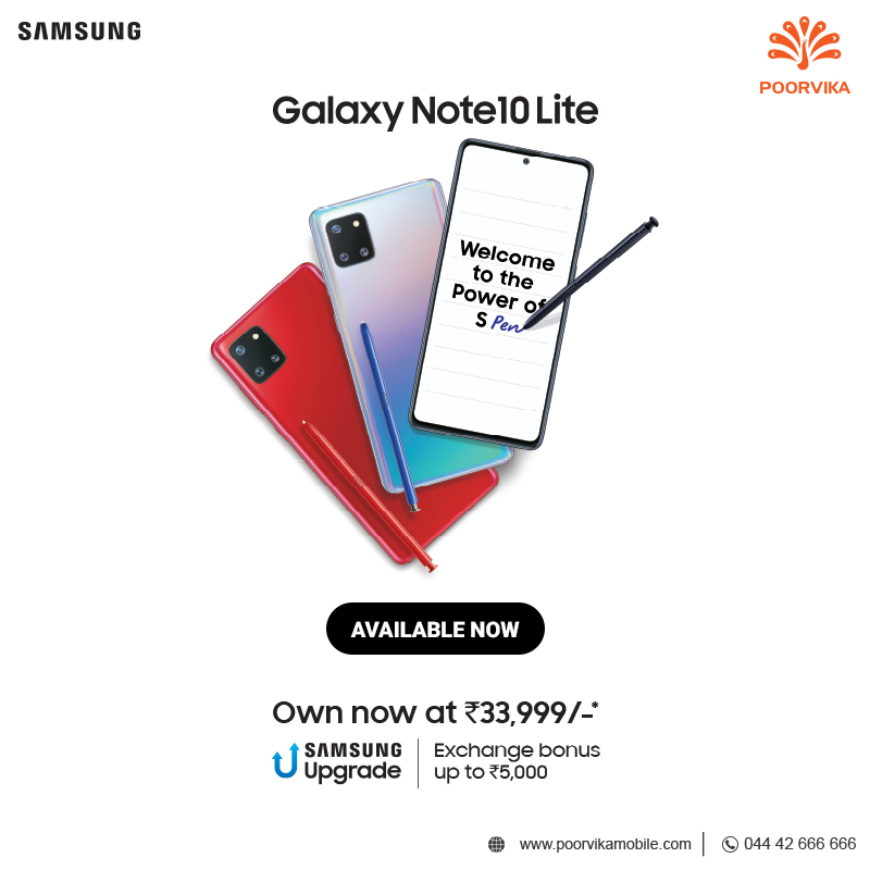 #PowerToDoMore with the new #SamsungNote10Lite with #Superfastcharging #Infinitydisplay designed to be precise and elegant with the #S-Pen as remote control Get yours right now from #Poorvika Mobiles ! . Helpline : 044 4266 6666pic.twitter.com/G1pjs6bt4O