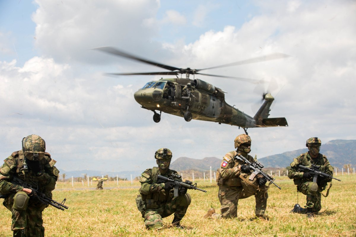.@82ndABNDiv  paratroopers and the National Army of Colombia train to secure an airfield at Tolemaida Air Base, Nilo, Colombia during an exercise.  Photos by Sgt. Andrea Salgado-Rivera and  Master Sgt. Alexander Burnett  #Partnerships  #Ready2Fight