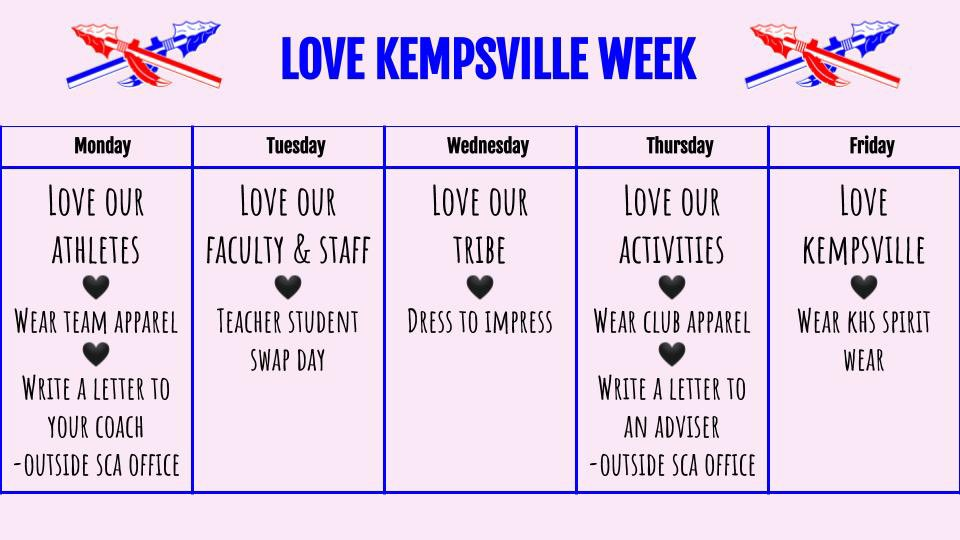 Hey @KHS_Chiefs! Love Kempsville week is starting tomorrow! Show your Kempsville pride ❤️💙