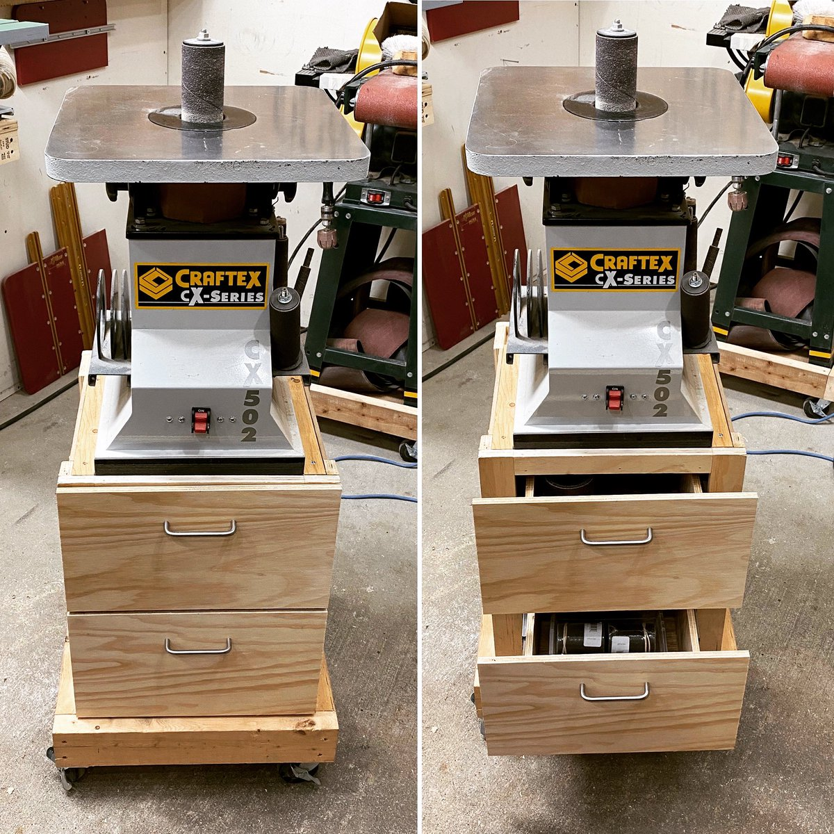 Day 32. Sunday project... added a couple drawers to my spindle sander stand. #ldnont #workshop #shopstorage #canadianmakers  #handmadeincanada  #canadianmaker #workshop #smallshop #shopmod #makeityourself #workshops #handcrafted #handmade #madeincanada #shop519 #makersmovement<br>http://pic.twitter.com/eSv3wLQy8U
