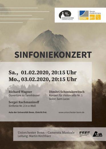 """Das Uniorchester Bonn """"Camerata musicale"""" spielt die Tannhäuser OuvertürevonRichard Wagner die 2. SinfonievonSergei Rachmaninoff das 1. CellokonzertvonDmitri Schostakowitsch Heute 20.00 Uhr in der Aula der @UniBonn Eintritt frei! #Konzert #Romantik https://www.bonn.de/veranstaltungskalender/veranstaltungen/hauptkalender/extern/Sinfoniekonzert.php?spfix%3AscheduleId=1&p=1133%2C1538%2C2027%2C%2Fbonn-erleben%2Fausgehen-und-erleben%2Fveranstaltungskalender.php%2C105186…pic.twitter.com/kJjXyNuItk"""