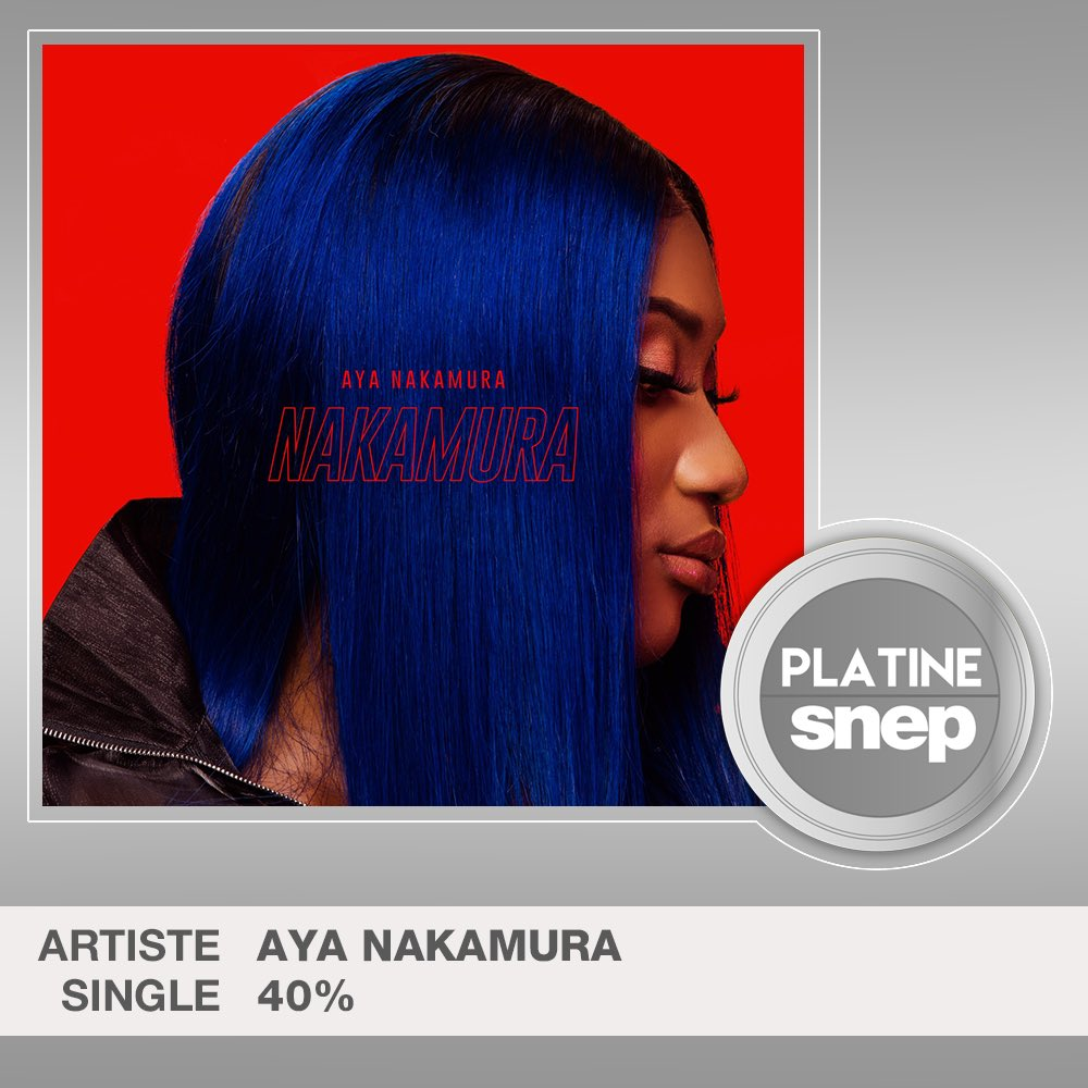 Le titre « 40% » d'Aya Nakamura est certifié Single Platine ! 💿  30 000 000 équivalents streams 🎧  Bravo ! 👏 https://t.co/aQFKNqGJzL