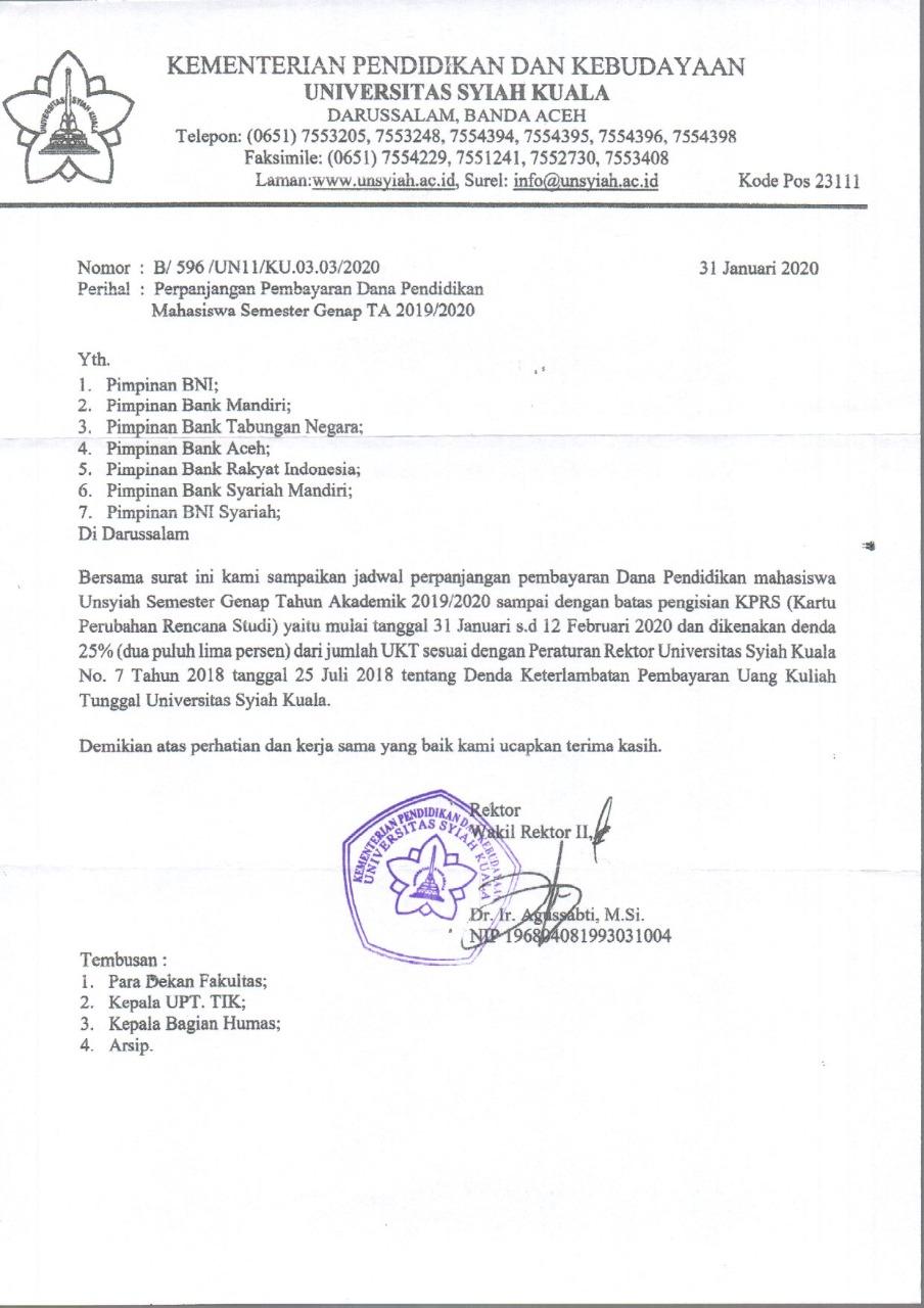 Universitas Syiah Kuala در توییتر Infounsyiah Perpanjangan Pembayaran Dana Pendidikan Mahasiswa Semester Genap Ta 2019 2020 Dan Pengisian Kartu Perubahan Rencana Studi Kprs 31 Januari S D 12 Februari 2020 Https T Co B51hywf8hg