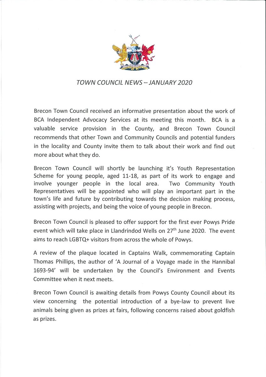 News from the Town Council - January 2020