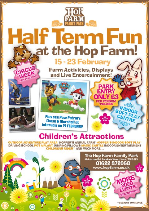 Half term FUN at the Hop Farm Family Park! Spring lambs & piglets, rides, CIRCUS, indoor soft play and see PAW PATROL's Chase and Marshall on the 19th February! Cameras at the ready! Info @ https://t.co/O4SngXZCst #pawpatrol #halfterm @paddockwoo...