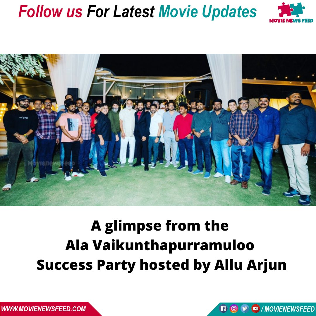 A glimpse from the #AlaVaikunthapurramuloo success party hosted by @alluarjun  #tollywood #tollywoodactor #tollywoodmovie #tollywoodactresses #tollywoodcinema #tollywoodboard #tollywoodhero #tollywoodcinama #tollywoodupdates #telugu #telugucinema #telugumovie #teluguhotactress pic.twitter.com/tHwn2H6aBY