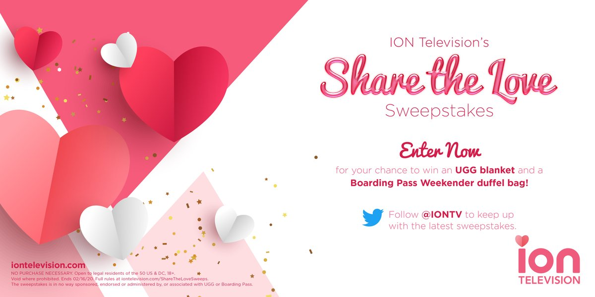 Enter ION Television's #ShareTheLoveSweeps for your chance to win an UGG blanket and a Boarding Pass Weekender duffel bag! 💕 #Entry