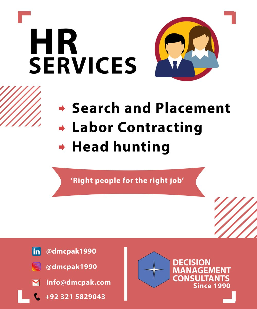 #HRservices #Search #Placement #Labour #Contracting #Return #Business #Filings #PRA #PSEB #PEC #Taxation #Incometax #Audit #FBR #NTN #LCCI #Company #Registration #WeBOC #Id #Import #Export #License #HeadHunting #Online #Verification CONTACT +923215829043 https://t.co/s5FNeKZa07