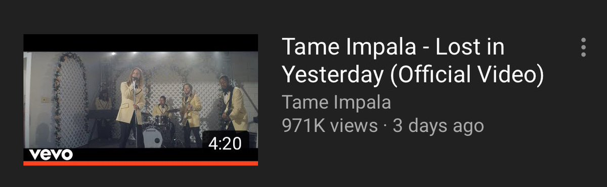 Please Support @TameImpala new video #LostInYesterday get us that M  .