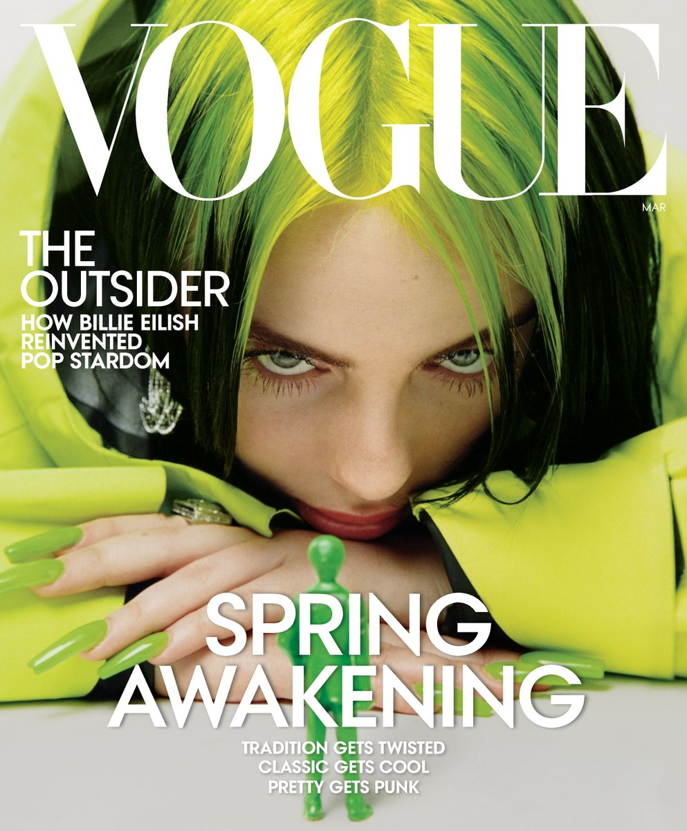 Billie covers the March issue of @VogueMagazine. vogue.com/article/billie…