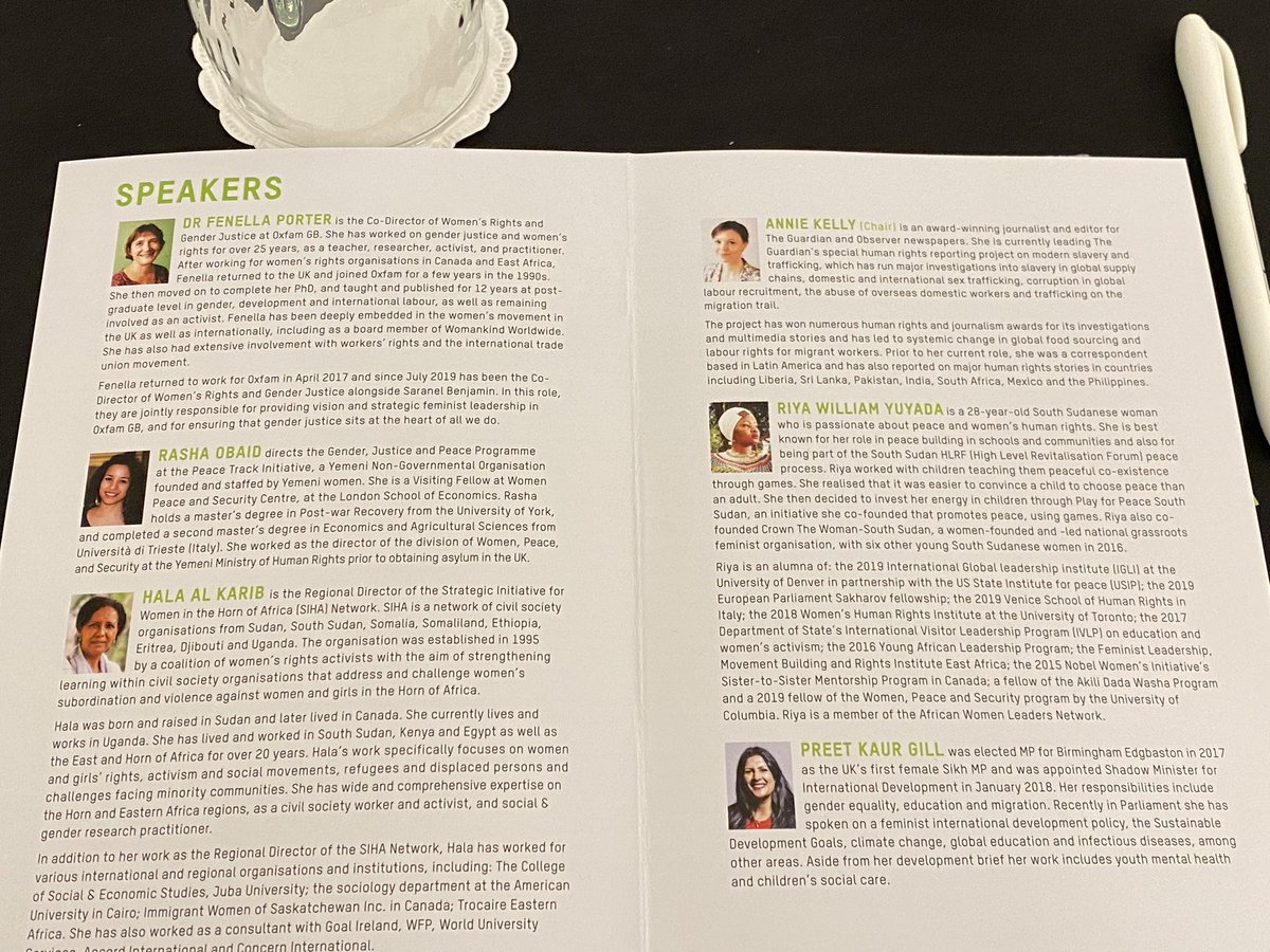 What an amazing lineup @oxfamgb #feministleaders