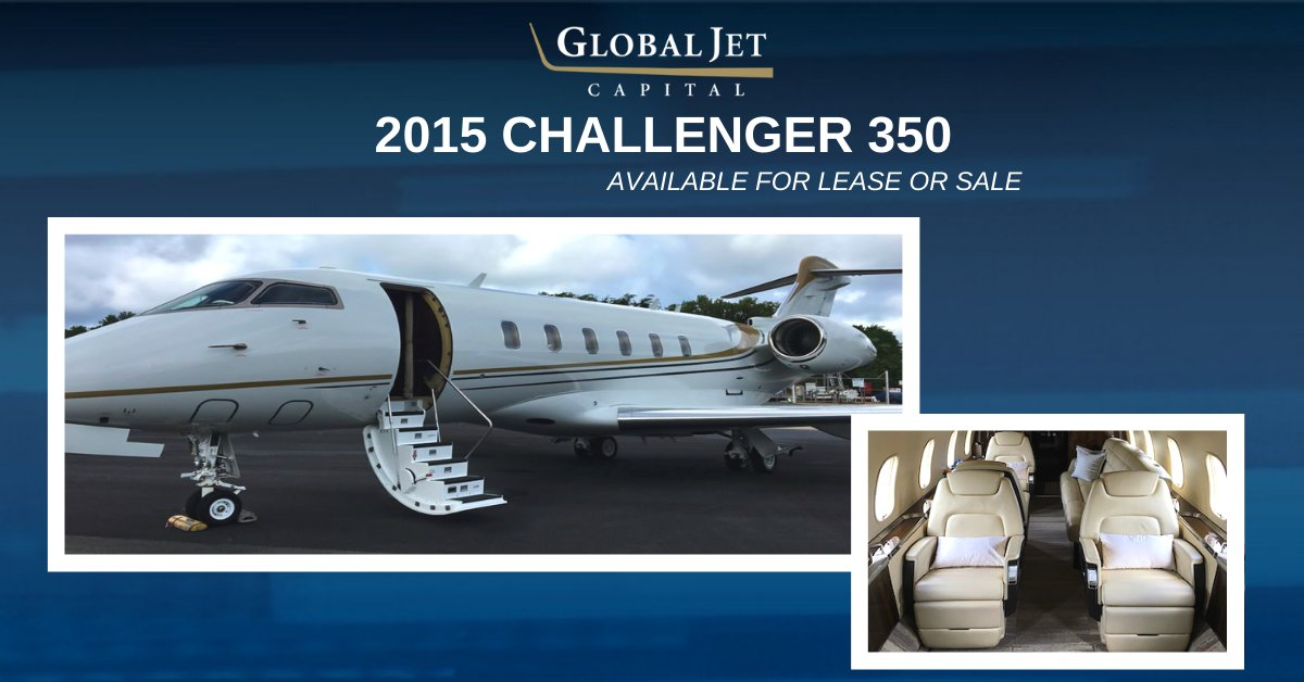 Considering an upgrade? Check out this exceptional 2015 Challenger 350 now available for lease or sale featuring 9 passenger configuration. Learn more: hubs.ly/H0mQJy20. #bizav #aviation #bizjet