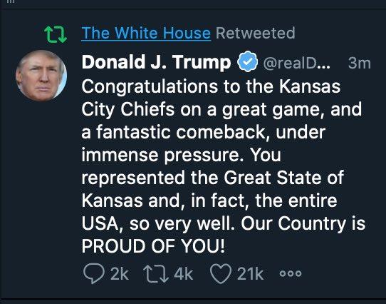 No Monday morning quarterbacking can save Donald Trump from the humiliating defeat of his moronic, fumbled #KansasCityKansas tweet. RT for posterity.
