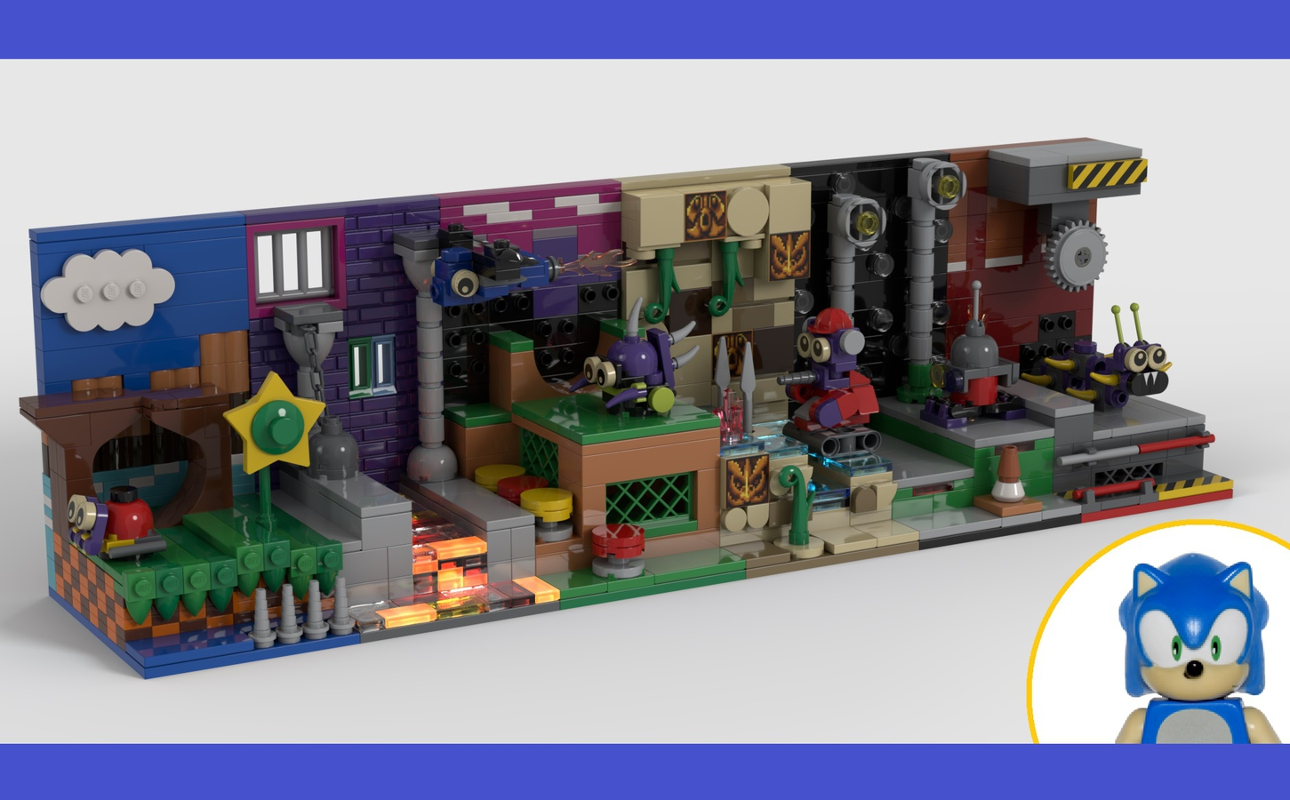 Lego Ideas On Twitter This Awesome Sonic The Hedgehog Mini Display Set Combines All The Zones From The Original Sonic The Hedgehog This Micro Diorama Build By Divingfaces 5018 On Legoideas Is