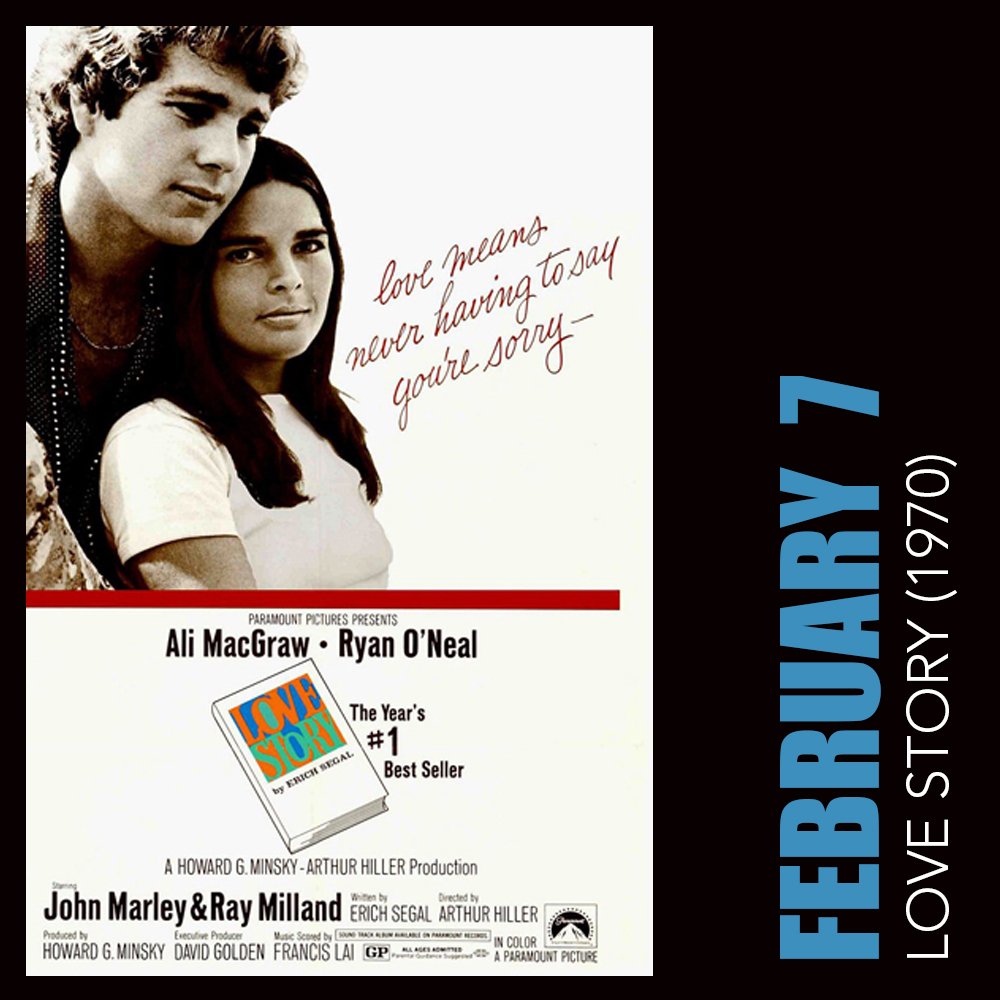 Our 2020 First Friday Film Series kicks off THIS FRIDAY, February 7, with 1970s Love Story! Film starts at 7:00 pm and complimentary popcorn and candy are included with admission. This annual series is generously sponsored by Craig Schulz. #FirstFridayFilmSeries 🎥
