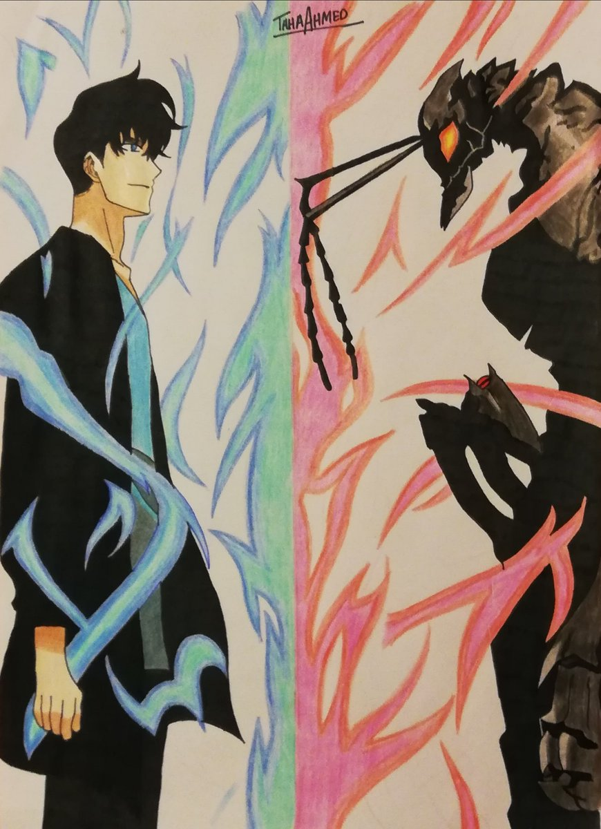 Took quite a while but it turned out good 😅 Sung Jin woo VS Ant King #AnimeArt