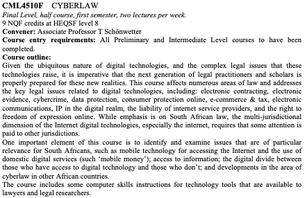 I cant wait to teach cyberlaw again this semester to our @UctLaw LLB students, taking onboard the feedback from students who took the course in 2019. This is all part of our efforts to better teach and research the nexus between law & technology. @AfricanIP @Afrinnovation