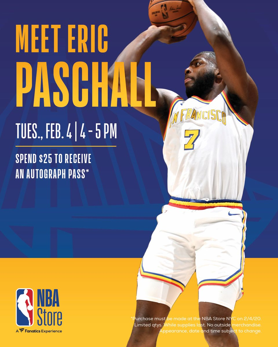 📆 Meet @warriors rookie, and 2020 NBA Rising Star participant @epaschall TOMORROW @NBAStore NYC.