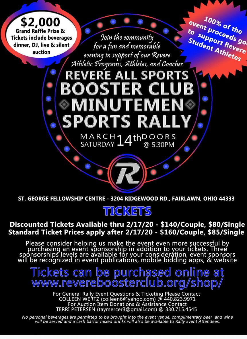 Revere Sports 7 12 On Twitter Please Support The Booster Club At Their Rally On March 14 Enjoy A Night Out And Support Revere Athletics