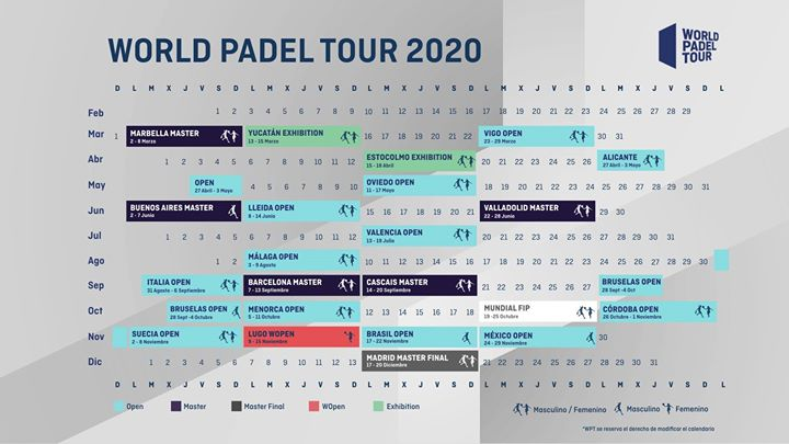 The World Padel Tour Calendar for 2020 is presented to you!   Let's watch some memorable sports moments! #padel #padelsport #padelmania #padeltennis #padelfun  #padeltime #worldpadeltour #racketsports #racketpalpic.twitter.com/AN7bYoBuk0